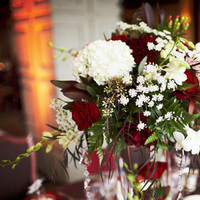 white, red, Centerpiece, Florals, Cami erik