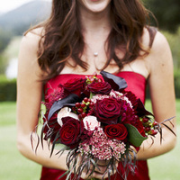 red, black, Roses, Bouquet, Calla, Lilies, Berries, Cami erik