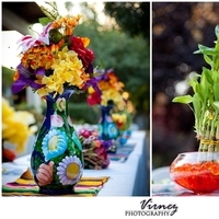 Reception, Flowers & Decor, yellow, orange, pink, purple, blue, green, Centerpieces, Flowers, Centerpiece, Colors, Water, Bamboo, Colorful, Theme, Weddings, Beautiful, Aqua, Mexican, Vibrant, Beads, Plant, Turqouise, Sarapes