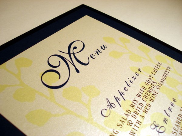 Reception, Flowers & Decor, white, yellow, black, Menu, Stationary