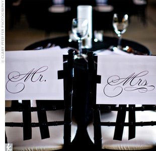 Reception, Flowers & Decor, white, black, Mr, Mrs, Signage