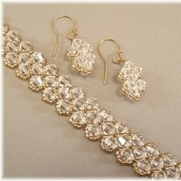 Jewelry, white, gold, Bracelets, Bride, Wedding, Custom, Bridal, And, Crystal, Bracelet, With, Earring, Sets, Clear
