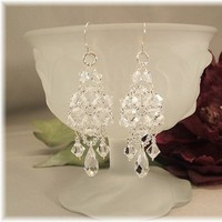 Jewelry, white, Earrings, Bride, Wedding, Bridal, Long, Crystal, Swarovski, Chandelier