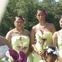 Beauty, Flowers & Decor, Jewelry, Bridesmaids, Bridesmaids Dresses, Wedding Dresses, Fashion, purple, green, dress, Makeup, Bridesmaid Bouquets, Flowers, Hair, Flower Wedding Dresses