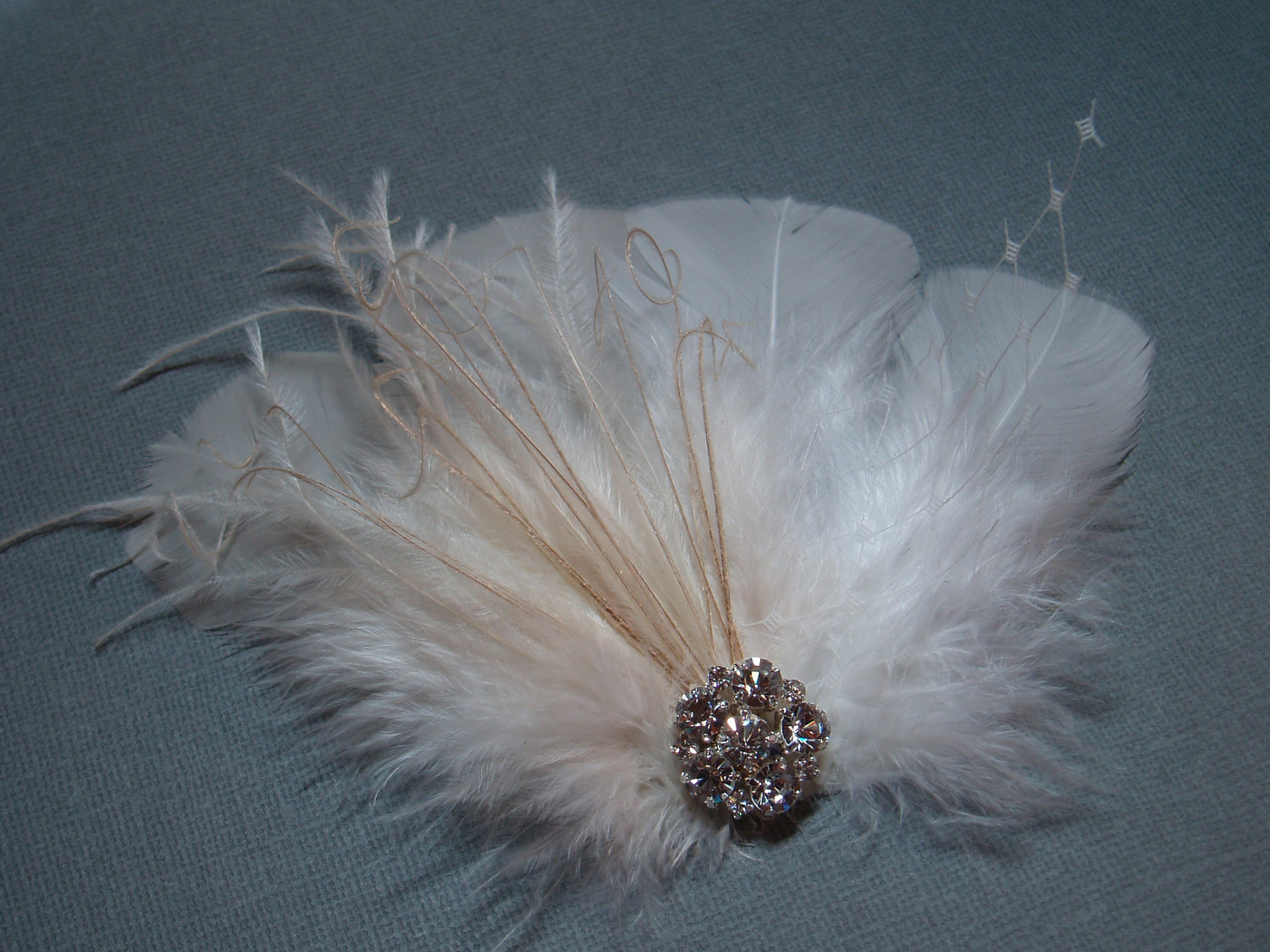 Beauty, Ceremony, Reception, Flowers & Decor, Jewelry, Bridesmaids, Bridesmaids Dresses, Wedding Dresses, Fashion, white, ivory, green, dress, Feathers, Wedding, Hair, Bridal, Champagne, Jewel, Rhinestone, Clip, Feather, Feather Wedding Dresses, Jewel Wedding Dresses