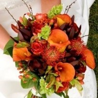 Flowers & Decor, orange, red, brown, gold, Flowers