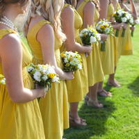 Ceremony, Flowers & Decor, Bridesmaids, Bridesmaids Dresses, Fashion, yellow, Grass, Bouquets, Erin alan