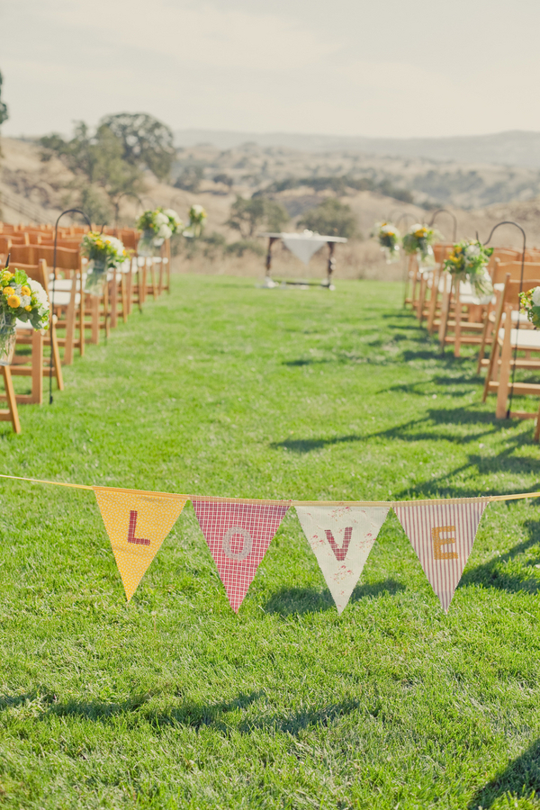 Ceremony, Flowers & Decor, Grass, Aisle, Love, Flags, Bunting, Erin alan