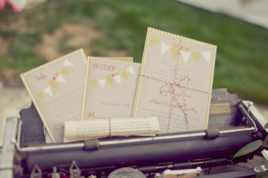Stationery, white, yellow, red, Invitations, Erin alan, Megtab