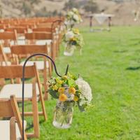 Flowers & Decor, Tables & Seating, Flower, Chairs, Aisle, Mason jars, Erin alan