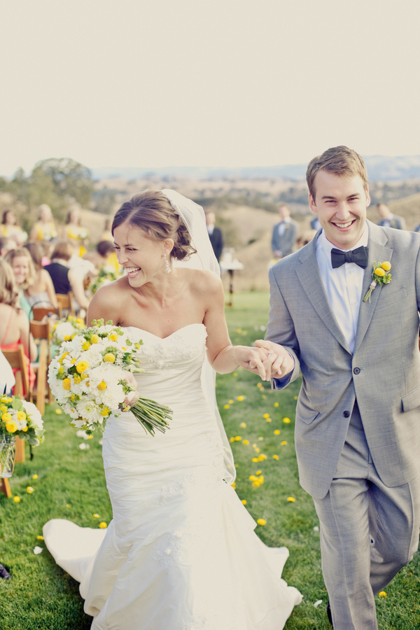 yellow, Bride, Groom, Grey, Aisle, Erin alan