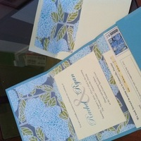 Stationery, ivory, blue, green, Invitations, Hydrangea