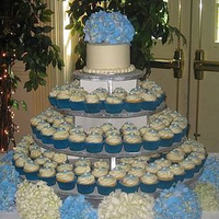 Reception, Flowers & Decor, Cakes, white, blue, cake, Cupcakes, Hydrangea