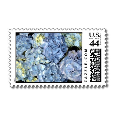 Stationery, blue, Invitations, Hydrangea, Stamp