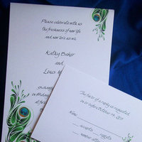 Stationery, white, blue, green, black, invitation, Invitations, Wedding, Set, Personalized, Love, Peacock