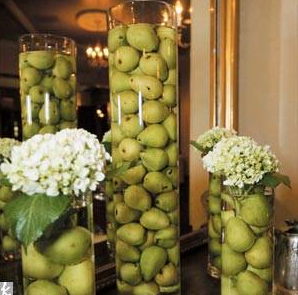 Reception, Flowers & Decor, white, green, Flowers, Pears