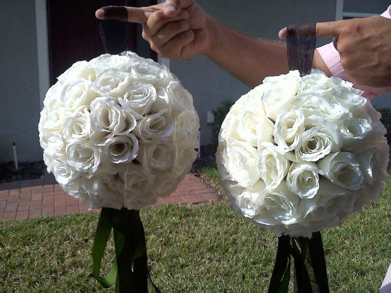 Ceremony, Reception, Flowers & Decor, Bridesmaids, Bridesmaids Dresses, Fashion, white, green, black, Ceremony Flowers, Bridesmaid Bouquets, Flowers, Flower Wedding Dresses