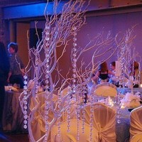 Reception, Flowers & Decor, white, Branches, Crystal