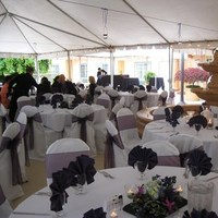 Reception, Flowers & Decor, Cakes, white, purple, black, cake, Flowers
