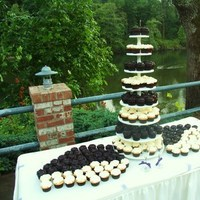 Reception, Flowers & Decor, Cakes, white, blue, black, cake, Flowers