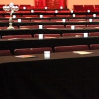 Ceremony, Flowers & Decor, white, red, black, silver, Dallas, Theater wedding, Lakewood theater