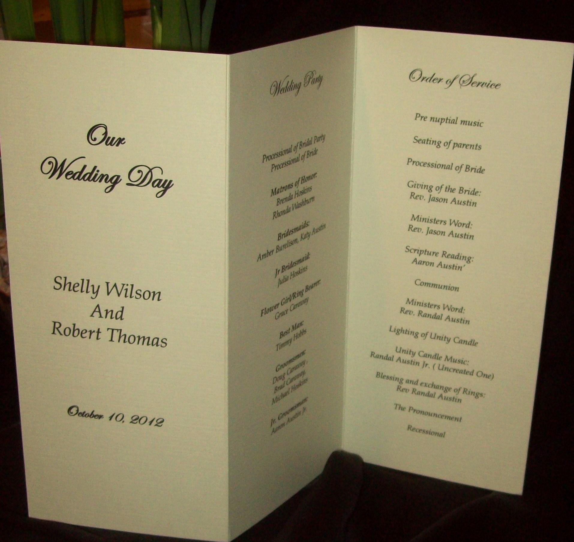 Ivory Linen Tri Fold Wedding Programs