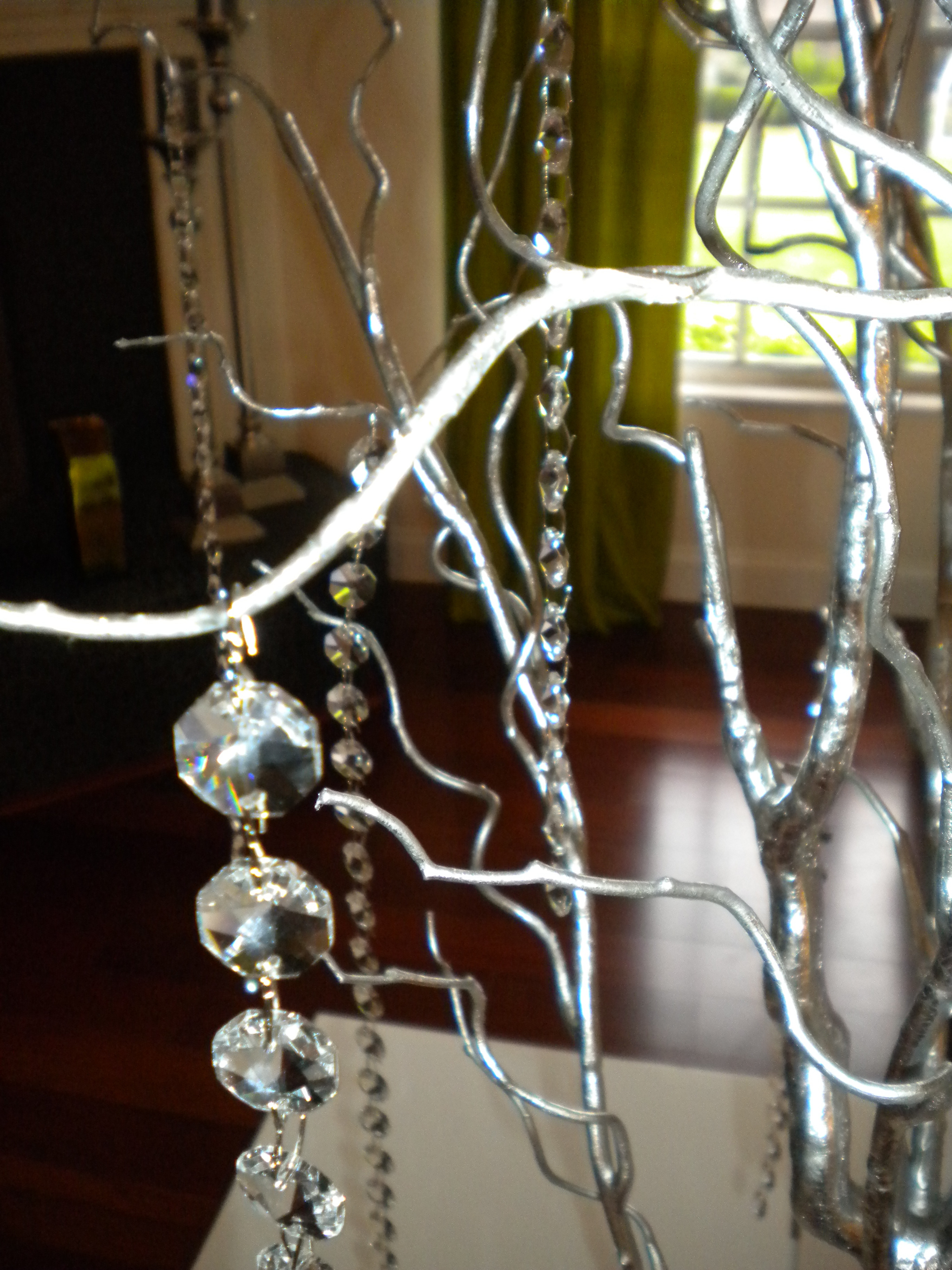 silver, Tree, Center, Piece, Crystals