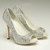Ceremony, Reception, Flowers & Decor, Shoes, Fashion, white, silver, Crystal