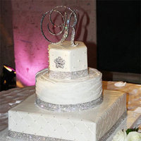 Reception, Flowers & Decor, Cakes, white, yellow, silver, cake