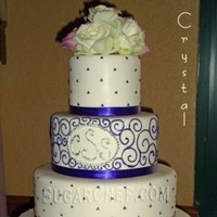 Reception, Flowers & Decor, Cakes, white, purple, silver, cake, Flowers