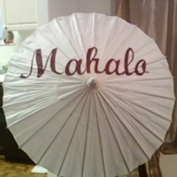 Ceremony, Flowers & Decor, Beach, Beach Wedding Flowers & Decor, Umbrella, Parasol, Card, Picture, You, Thank, Mahalo
