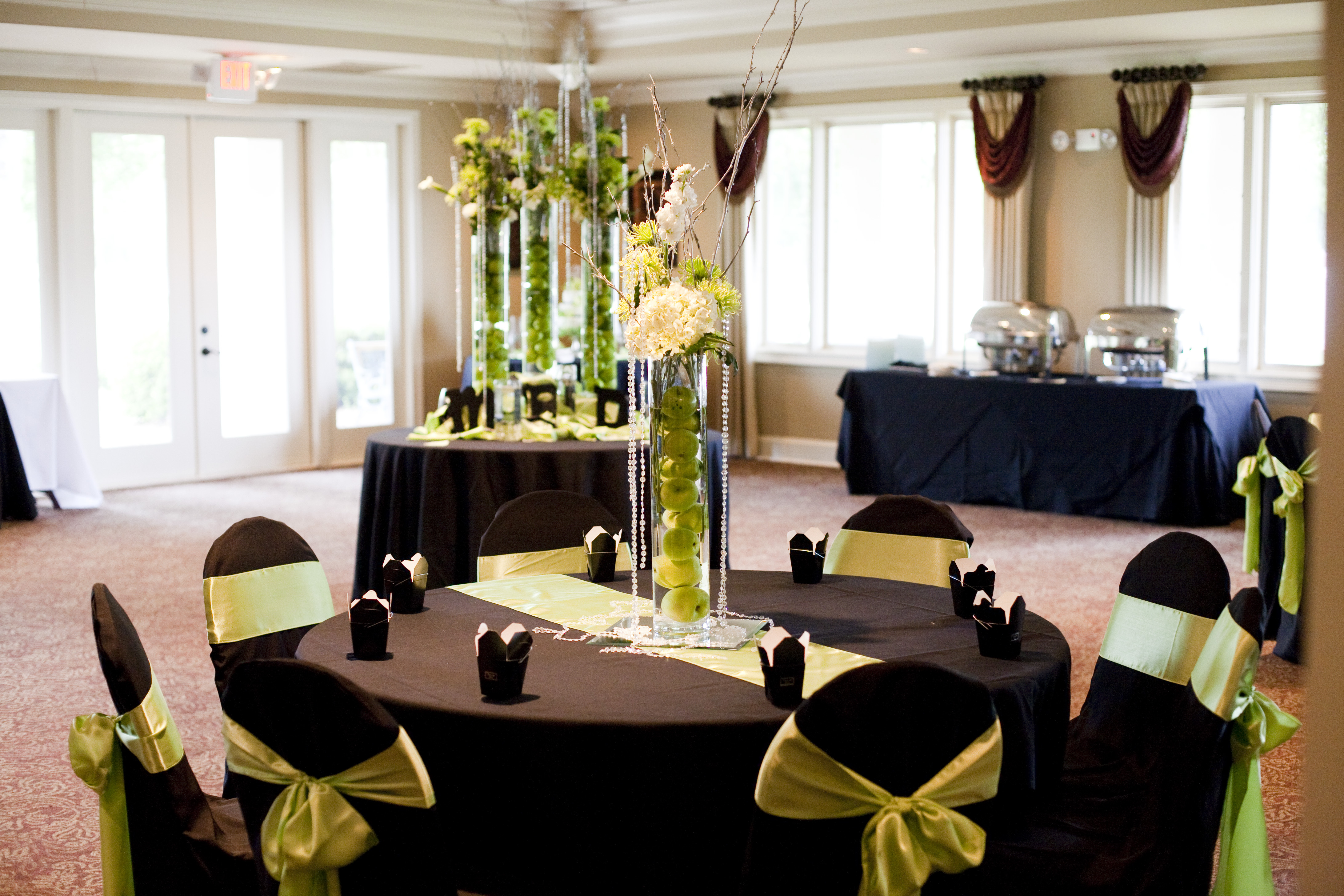 Reception, Flowers & Decor, green, black, silver, Chair, Runners, Covers, Sashes