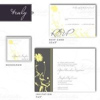 Stationery, white, yellow, silver, Invitations
