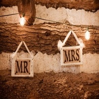Ceremony, Reception, Flowers & Decor, Wedding, Burlap, Tulle, Mr, Mrs, Sign, Signs