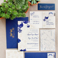 Stationery, white, blue, Invitations