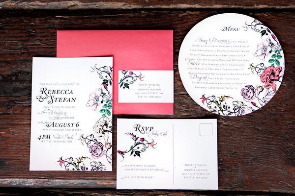 Stationery, white, pink, Round, Invitations