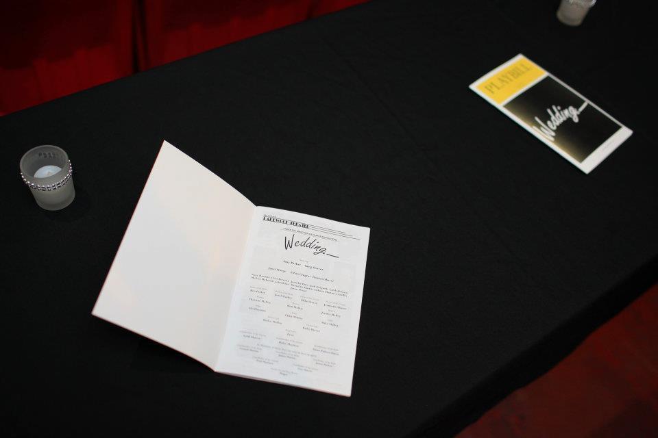 Ceremony, Flowers & Decor, Programs, Dallas, Theater wedding, Lakewood theater, Diy playbill