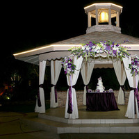Reception, Flowers & Decor, Cakes, white, pink, purple, green, cake, Flowers, Gazebo, Inspiration board, Lights, Twinkle