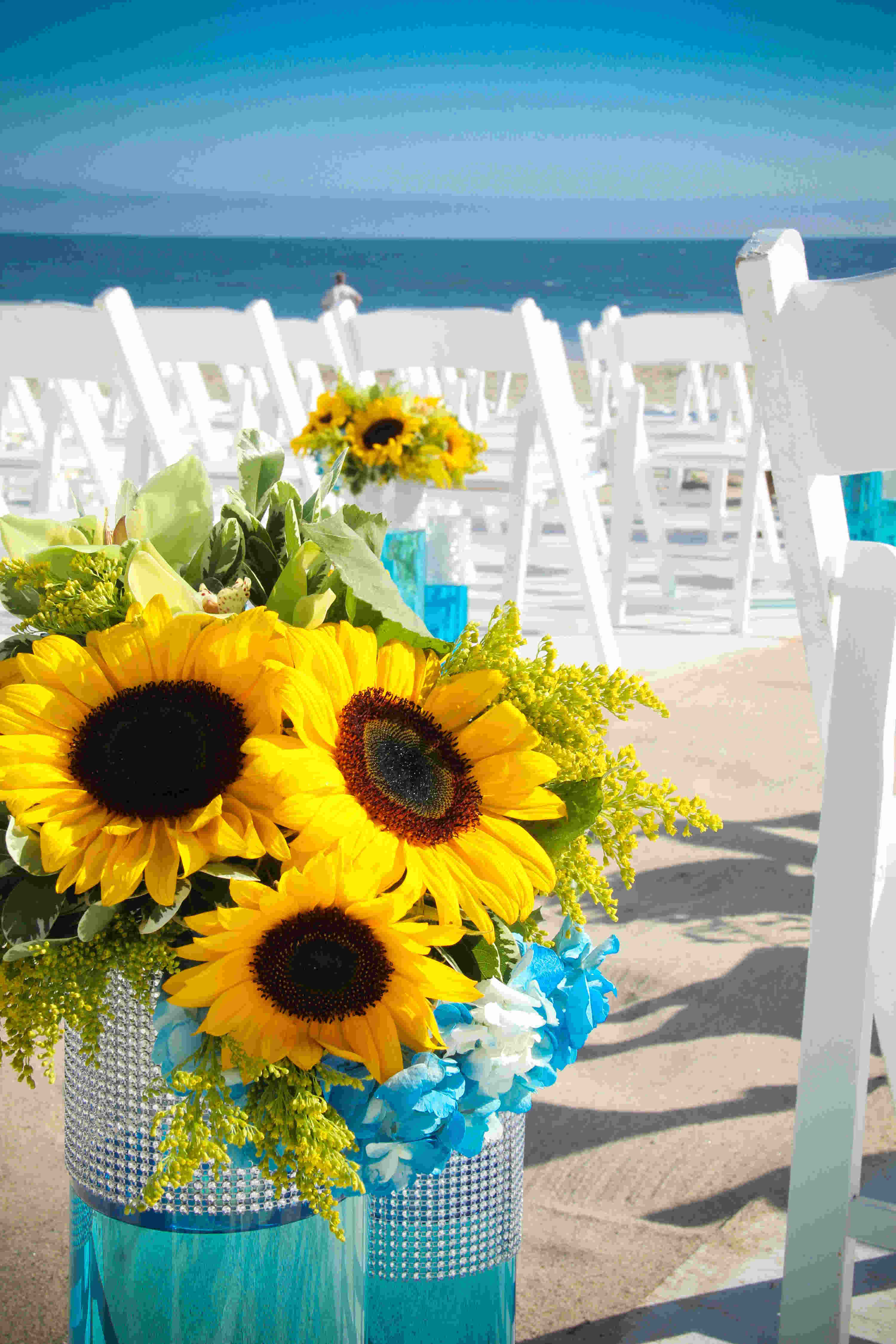 Ceremony, Flowers & Decor, yellow, blue, Beach, Ceremony Flowers, Aisle Decor, Flowers, Beach Wedding Flowers & Decor, Sunflowers, Aisle