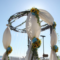 Flowers & Decor, yellow, blue, Beach, Flowers, Beach Wedding Flowers & Decor, Arch