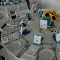 Reception, Flowers & Decor, white, yellow, blue, gold, Beach, Centerpieces, Beach Wedding Flowers & Decor, Centerpiece, Theme