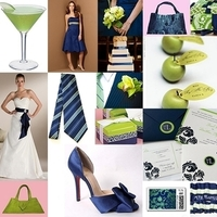 Reception, Flowers & Decor, Wedding Dresses, Stationery, Cakes, Fashion, blue, green, cake, dress, Invitations, Flowers, Inspiration board, Flower Wedding Dresses