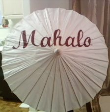 Ceremony, Flowers & Decor, Destinations, Hawaii, Beach, Beach Wedding Flowers & Decor, Cards, Umbrella, Ocean, Parasol, You, Thank, Decoration, Sun, Shade, Mahalo