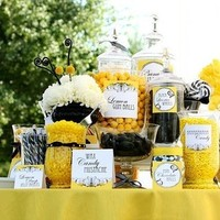white, yellow, black, Candy buffet, Ribbon, Stripe