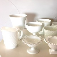 white, Candy buffet, Milk glass