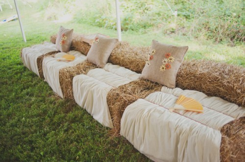 Reception, Flowers & Decor, Rustic, Rustic Wedding Flowers & Decor, Seating, Hay, Bails