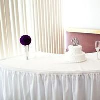 Ceremony, Reception, Flowers & Decor, Cakes, purple, silver, cake, Ceremony Flowers, Centerpieces, Flowers, Centerpiece, Table, Vase, Pomander, Kissing, Carnations, Ball
