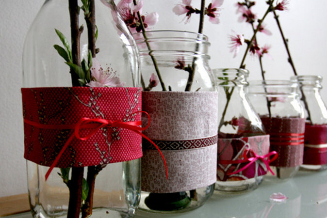 DIY, red, Fabric, Vases