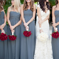 Bridesmaids, Bridesmaids Dresses, Fashion, red, Bride, Grey, Bouquets, Marcy alex