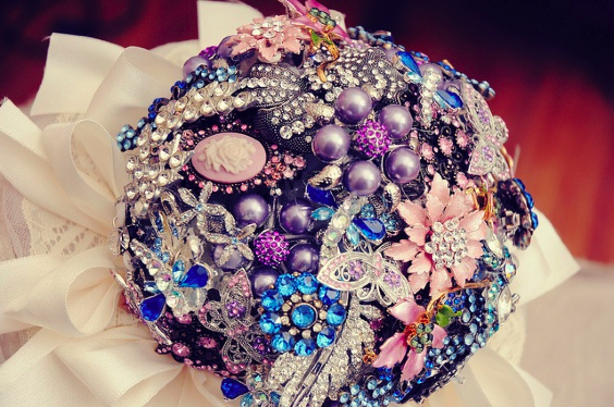 Flowers & Decor, Jewelry, purple, blue, silver, Brooches, Flowers, Bouquets